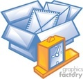 business work supplies documents box boxes alarm clock schedule   bc2_002 clip art business supplies