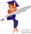 A Graduate Holding a Grey Feather Wearing her Cap and Gown