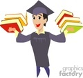 Guy holding a bunch of books during graduation