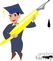 a graduate with a blue cap and gown holding a large yellow pen gif, jpg, eps