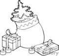 Black and White Christmas Bag with a Tree and Surrounded By Gifts and Candles