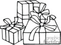 three black and white gift boxes with bows