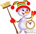 Snowman Holding a Watch and a Broom
