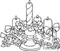 Black and White Christmas Garland and Candles