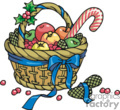 Colorful Fruit Basket with Blue Ribbon