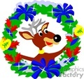 Christmast reindeer holding a wreath with bows