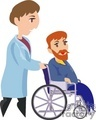 A Doctor Wheeling a Sick Man in a Wheelchair