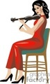 A Woman in a Red Dress Sitting on a Chair Playing a Violin