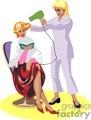 Hair stylist drying a customers hair