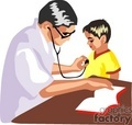 doctor listening to a child