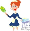 a woman in her maid uniform holding a duster gif, jpg, eps