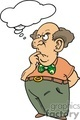 Bald man wearing a green bow tie wondering about something