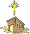 The star of Bethlehem over a barn