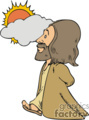 cartoon Jesus walking