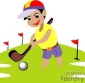 Golfer with a golf club and ball