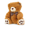 brown teddy bear with a brown plaid bow and ear