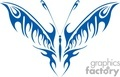 Butterfly tattoo in blue tribal design