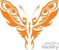 Orange tribal butterfly  vector clip art image