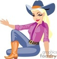 A Cowgirl with a Big Hat and a Purple Shirt Sitting Crossing her Leg Waiving