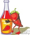 Pepper hugging a bottle of hot sauce