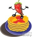 red habanero chile pepper standing on a stack of pancakes