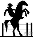 A Black and White Horse Reared up with a Cowboy on its Back