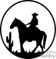 A Black and White Picture of a Cowboy Riding in the Sagebrush and a Single Cactus