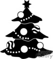 Black and White Christmas Tree Decorated with Bulbs and Beads