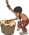 Native American playing a drum