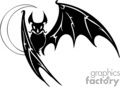 black and white scary bat flying against crescent moon