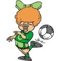 Toothless female soccer player.