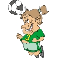 Young girl head butting a soccer ball.