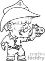 a black and white cowboy kid with a horse hand puppet gif, png, jpg, eps