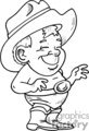 A black and white boy in his underwear wearing cowboy hat and boots with a big belt buckle