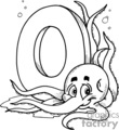 white letter o with an octopus