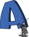 Cartoon letter A with an ant