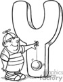 Boy with a yo yo standing in front of the letter Y
