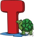 Cartoon letter T with a turtle standing next to it