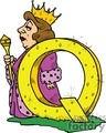 cartoon letter Q for Queen