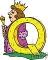 cartoon letter Q for Queen