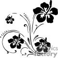 black hibiscus floral swirl designs