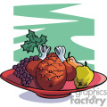 Turkey dinner plate vector clip art image