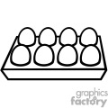 Black and white egg cartoon with eight eggs inside