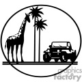 african safari trip giraffe and jeep