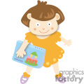 School girl holding a notebook