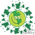 lucky green planet smiling with leprechauns dancing on it gif, png, jpg, eps