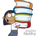african american girl with four books in her hands gif, png, jpg, eps
