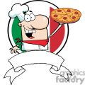Proud Chef Holds Up Pizza In Front Of Flag Of Italy