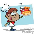 a african american boy chef holding up a hot dog drink and french fries in front of a blue background