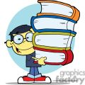 an asian boy carrying four different colored books in front of a blue circle background gif, png, jpg, eps